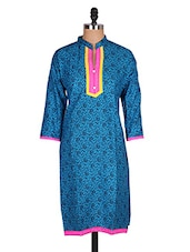 Regular Casual Blue And Yellow 3/4th Sleeve Women's Kurti - Sale Mantra