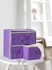 Folable Storage Box with 3 Drawers -Purple -  online shopping for Knick Knacks