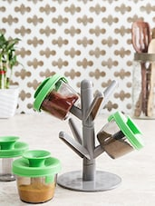 Pop -up Spice Rack With 6 Container, Lid And Stand - By