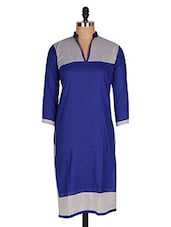Regular Casual Blue And White 3/4th Sleeve Women's Kurti - Sale Mantra