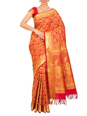 Red Art Silk Saree - By