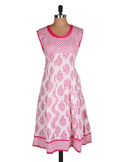 Froke Festive White And Pink Cut Women's Kurti - Sale Mantra