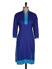 Regular Casual Blue And Blue 3/4th Sleeve Women's Kurti - Sale Mantra