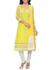 Yellow Cotton Semi Stitched Suit -  online shopping for Unstitched Suits