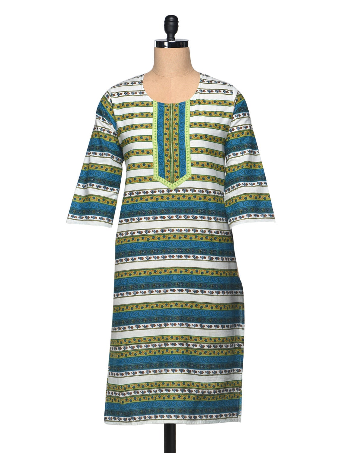Printed Round Neck Three Quarter Sleeve Cotton Kurta - Enakshi