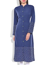 Blue & White Poly Crepe Kurta - By
