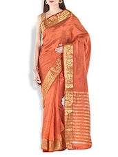 Orange Floral Brocade Work Chanderi Silk Saree - By