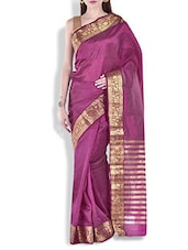Wine Floral Brocade Work Chanderi Silk Saree - By