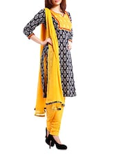 Cotton Black Printed  Salwar Suit Dress Material - Pinkshink - 982186