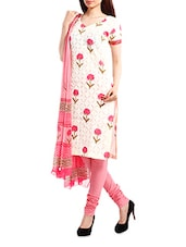 Cotton Off-White Floral  Salwar Suit Dress Material - Pinkshink