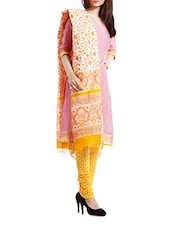 Chanderi Pink- Yellow Striped  Salwar Suit Dress Material - Pinkshink