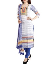 Lawn Cotton White- Blue Salwar Suit Dress Material - Pinkshink