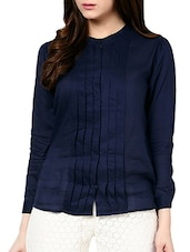 Blue Rayon Pleated Top - MARTINI
