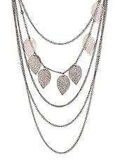 Grey Metal Alloy Leaf Multi Chains Neckpiece - THE BLING STUDIO