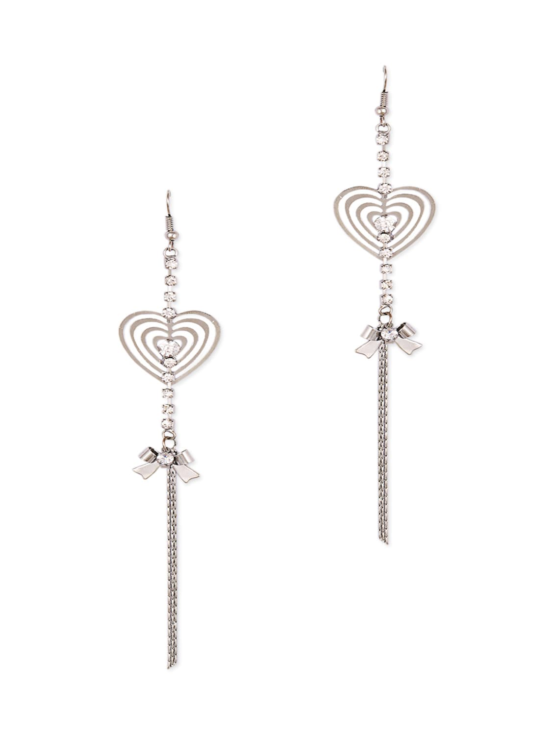Silver Cut Out Heart With Stone  A Bow Dangler Earring - THE BLING STUDIO