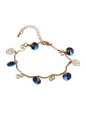 Golden  Bracelet With Dark Blue Stones - THE BLING STUDIO