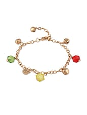 Golden   Bracelet With Multi  Balls  Golden Heart Charms - THE BLING STUDIO