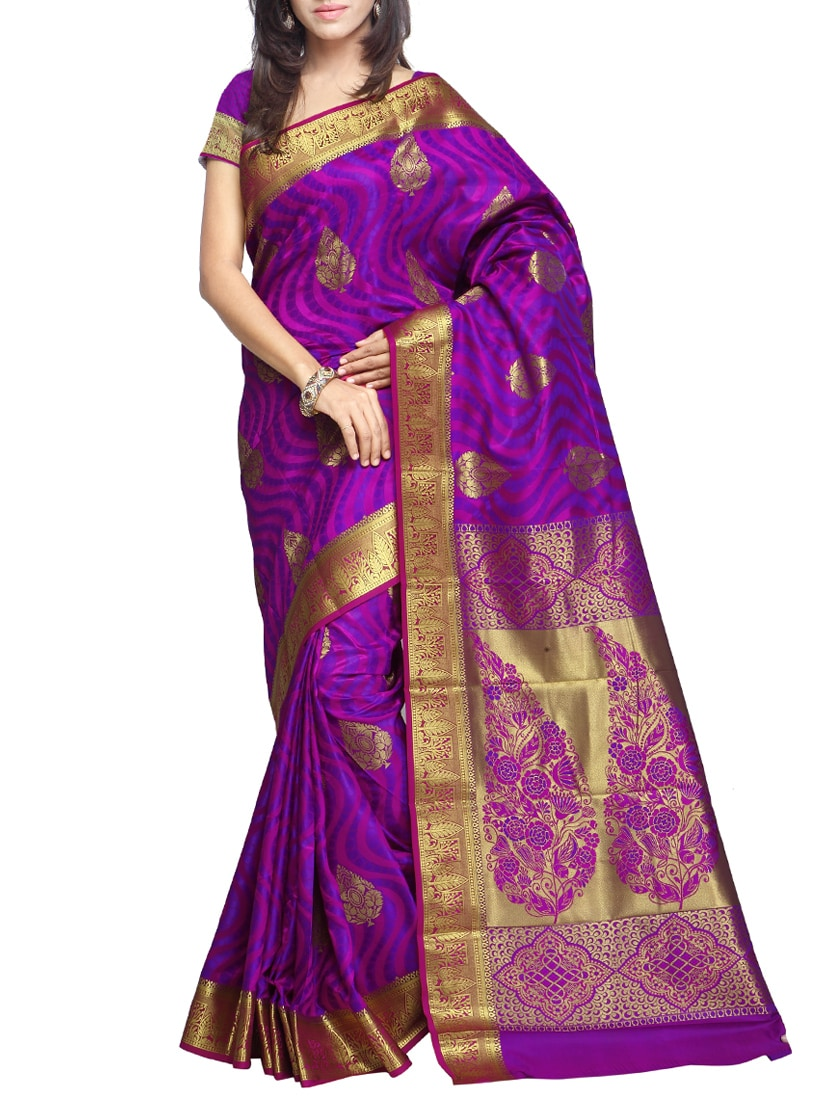 Purple Gold Silk Saree - By