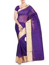 Purple  Art Silk  Plain Saree. - By