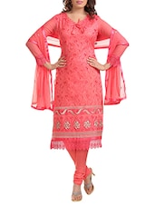Embroidered Cotton Dress Material(Gajari) - By