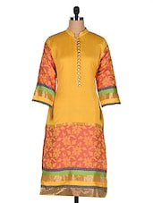 Yellow Chanderi Kurti With Jackuard Weave - Rainbow Hues