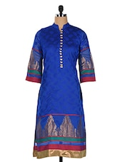 Blue Chanderi Kurti With Jackuard Weave - Rainbow Hues