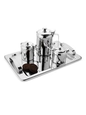 Stainless Steel Tea Serving Set With Tray - MOSAIC