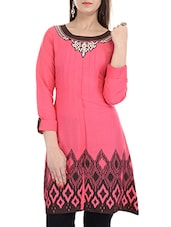 Pink,black Rayon Regular Kurti - By