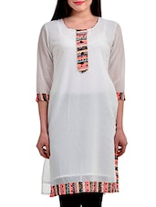 White Embroidered And Printed Georgette Kurta - By