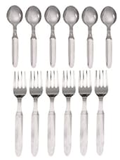 Stainless Steel Baby Spoon And Baby Fork Set - MOSAIC - 983418