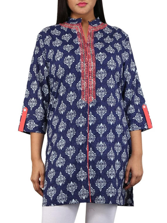 Navy Blue And Peach Printed Cotton Kurta - By