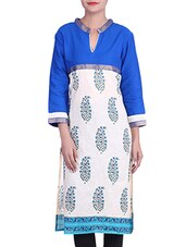 White And Blue Paisley Printed Cotton Kurta - By