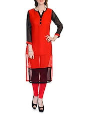 RED PRINTED GEORGETTE LONG KURTI - By