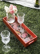 Coral Hand Crafted And Hand Painted Rectangular Tray - By