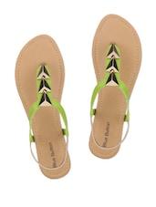 Green Leatherette Sandals - Blue Button
