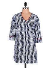Blue & White Striped Cotton Kurti - Cotton Curio