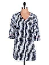 Blue & White Striped Cotton Kurti - Cotton Curio