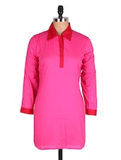 Pink Shirt Collar Cotton Kurti - Cotton Curio