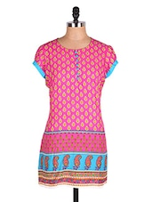 Pink Printed Short Sleeves Kurti - Cotton Curio