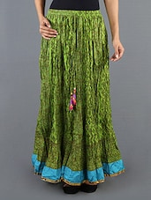 Printed Green Crinkle Long Skirt - Cotton Curio