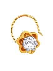 Yellow Gold And Diamond Nosepin - Asmi