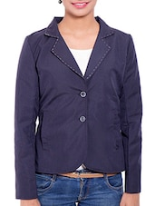 Blue Wool Blend Winter Coat - By - 9842355