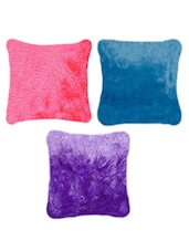 Pink, Blue & Purple  Poly Velvet Cushion Set - By