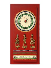 Warli Handpainted And Dhokra Work Clock 14*6 Inch - ExclusiveLane