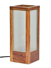 Modern Frosted Glass Lamp In Sheesham Wood - ExclusiveLane