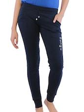 Blue Solid Cotton Blend Pants - By