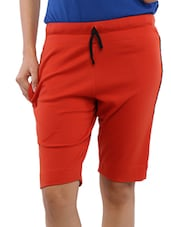 Red Cotton Blend Knee Length Shorts - Lango