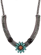 Floral Pattern Stone Metal Chain Necklace - Mesmerizink
