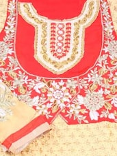 Red And Beige Unstitched Suit Set - Inddus