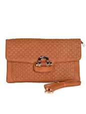 Brown Leatherette Textured Clutch - Daphne